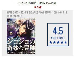 【朗報】実写映画「ジョジョの奇妙な冒険 ダイヤモンドは砕けない」、海外で大好評!!